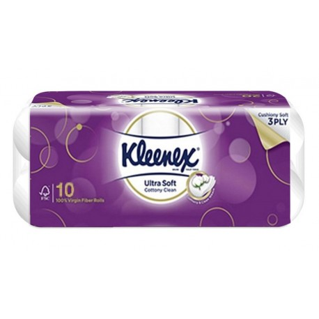 Kleenex Ultrasoft Cottony Clean 3ply Toilet Tissue 10s