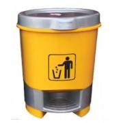 30L Plastic Round Pedal Bin - YELLOW