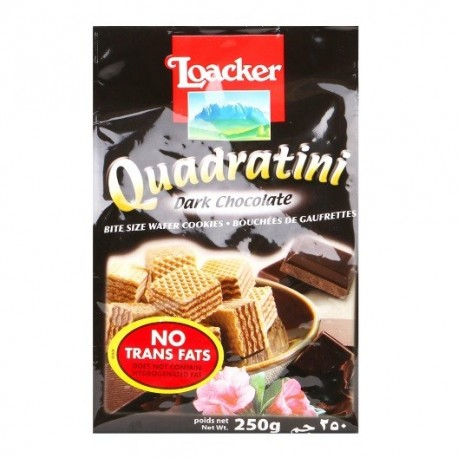 Loacker Quadratini Wafer 250g - Dark Chocolate