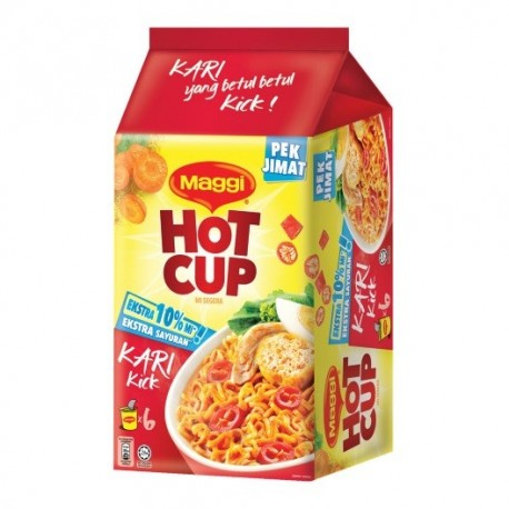Maggi Hot Cup Curry Flavour 6x59g