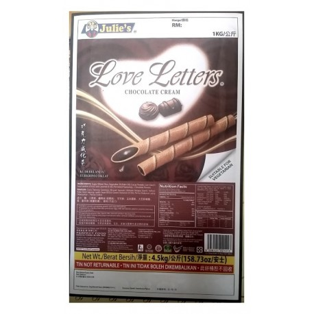 Julie's Love Letters Chocolate Cream 4.5Kg (Bulk Tin)