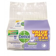 DETTOL Personal Care Wet Wipes 3x10's - Hygiene Sensitive