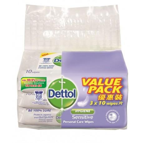 DETTOL Personal Care Wet Wipes 3x10's - Hygiene Sensitive