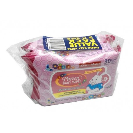 Pureen Baby Wipes 30s x2 Value Pack