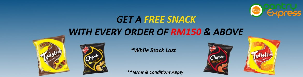 Get a Free Snack with every order of RM150 & above